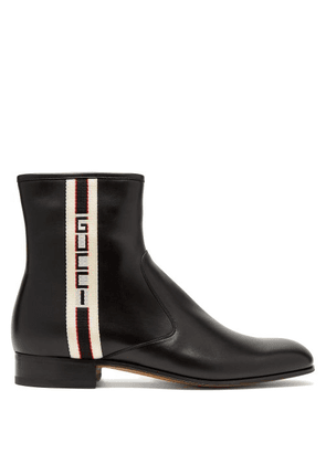 Gucci - Logo Stripe Leather Chelsea Boots - Mens - Black