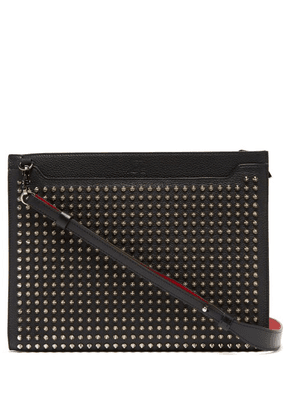 Christian Louboutin - Skypouch Spike Embellished Leather Pouch - Mens - Black