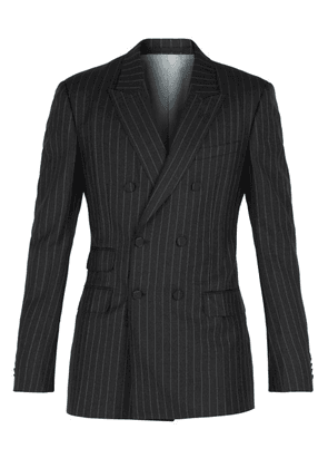 Gucci - Striped Double Breasted Blazer - Mens - Grey