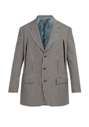 Gucci - Single Breasted Houndstooth Wool Blend Blazer - Mens - Black White