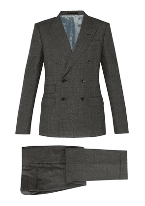 Gucci - Double Breasted Wool Suit - Mens - Grey