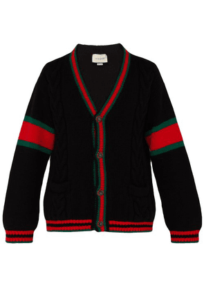 Gucci - Oversize Web Stripe Cable Knit Cardigan - Mens - Black Red