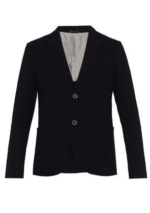 Giorgio Armani - Corded Single Breasted Virgin Wool Blend Blazer - Mens - Navy