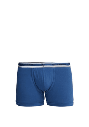 Dolce & Gabbana - Logo Embroidered Cotton Blend Boxer Trunks - Mens - Blue