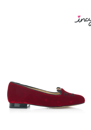 Charlotte Olympia Flats Women - INCY KITTY FLATS RED AND BLACK Velvet/Patent 25