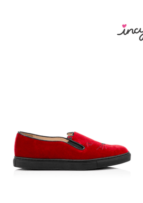 Charlotte Olympia Sneakers Women - INCY COOL CATS RED Velvet 26