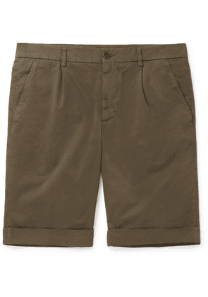 Aspesi - Slim-fit Pleated Cotton-twill Chino Shorts - Army green