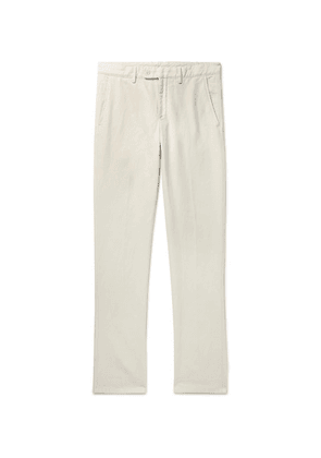 Aspesi - Slim-fit Garment-dyed Cotton And Linen-blend Twill Trousers - Neutral
