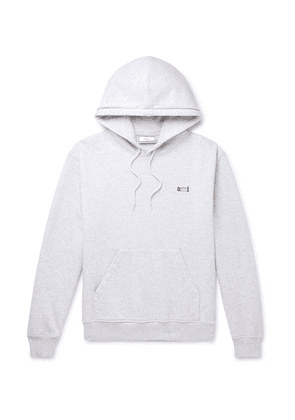 AMI - Logo-embroidered Mélange Loopback Cotton-jersey Hoodie - Gray