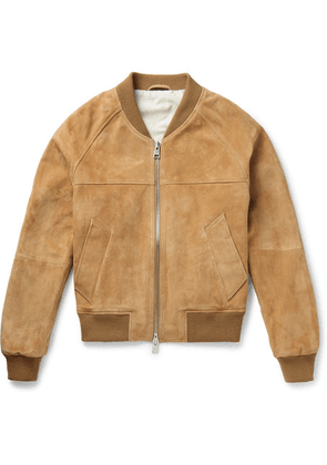 AMI - Suede Bomber Jacket - Brown