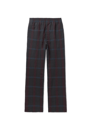 Camoshita - Checked Wool And Linen-blend Drawstring Trousers - Navy