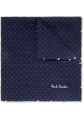 Paul Smith - Embroidered Pin-dot Cotton And Silk-blend Voile Pocket Square - Navy