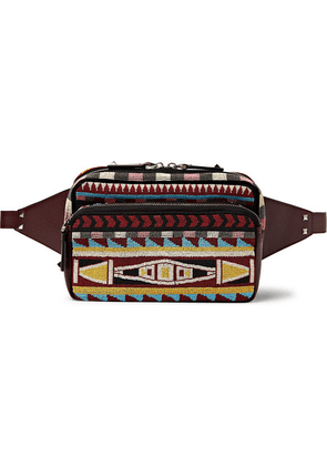 Valentino - Beaded Twill And Leather Belt Bag - Burgundy