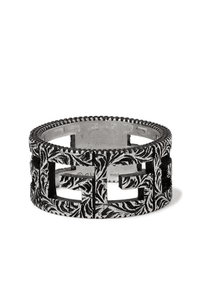 Gucci - Engraved Burnished Sterling Silver Ring - Silver