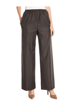Wide-Leg Wool-Cashmere Pull-On Trousers