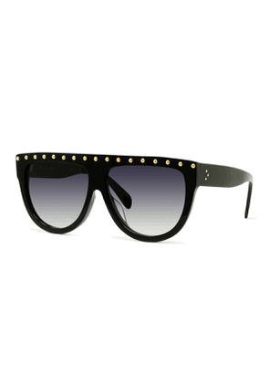 Studded Flattop Shield Sunglasses