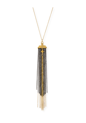 Old World Two-Tone Chain Tassel Necklace