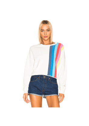 RE/DONE Striped Crewneck Sweatshirt in Stripes,White