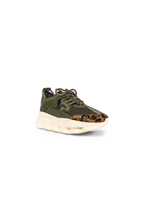 VERSACE Chain Reaction Sneakers in Animal Print,Green