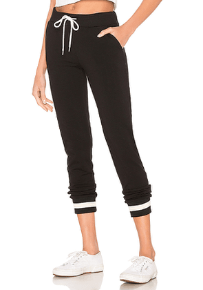 MONROW Sporty Stripe Rib Sweatpant in Black. Size M,S,XS.
