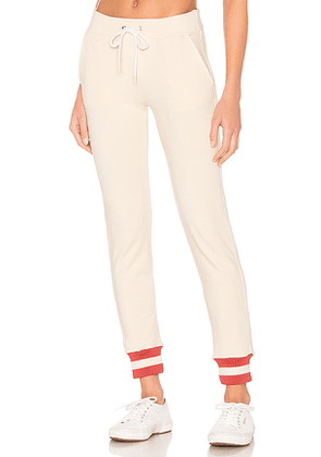 MONROW Sporty Rib Sweatpant in Cream. Size M,S,XS.