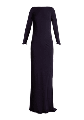Azzaro - Ava Crystal Embellished Jersey Gown - Womens - Navy