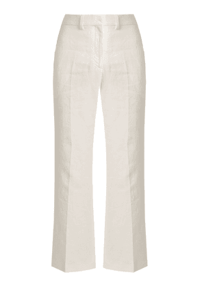 Calvin Klein Collection - Lagen Tailored Linen Trousers - Womens - White