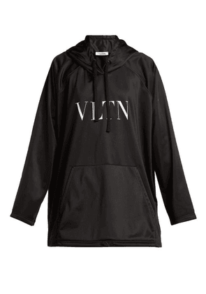 Valentino - Logo Print Jersey Hooded Sweatshirt - Womens - Black