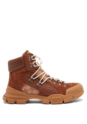 Gucci - Flashtrek Leather High Top Trainers - Mens - Brown Multi