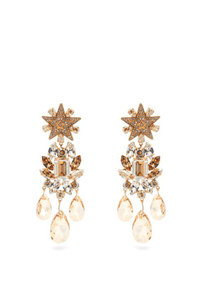 Dolce & Gabbana - Crystal Embellished Star Clip On Earrings - Womens - Gold