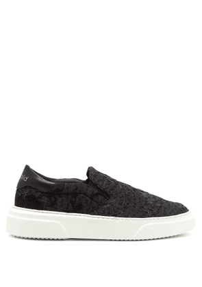 By Walid - 19th Century Panelled Low Top Trainers - Womens - Black Multi