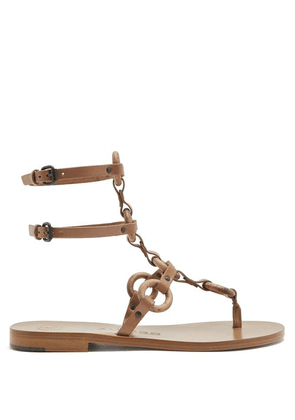 Álvaro - Andorra T Bar Leather Sandals - Womens - Tan