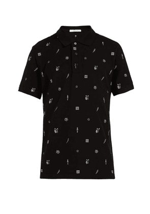 Givenchy - Embroidered Motif Cotton Polo Shirt - Mens - Black