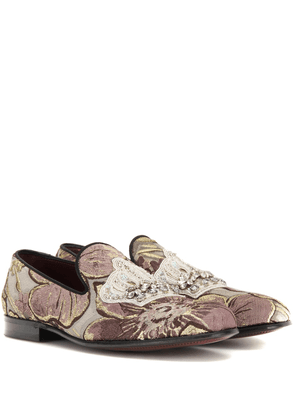 Embellished jacquard loafers