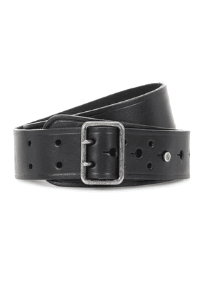 Leather press-stud belt