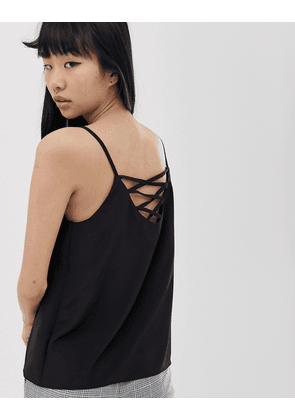 New Look strappy cami top in black