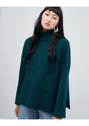 Weekday Ribbed Chunky Polo Neck with Side Splits