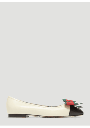 Gucci Web Bow Ballet Shoes in White size EU - 38