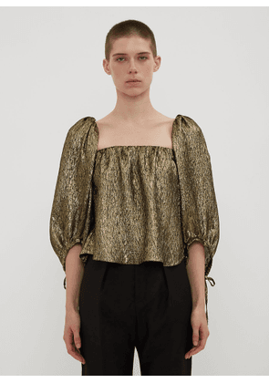 Saint Laurent Metallic Jacquard Square Neck Top in Gold size FR - 34