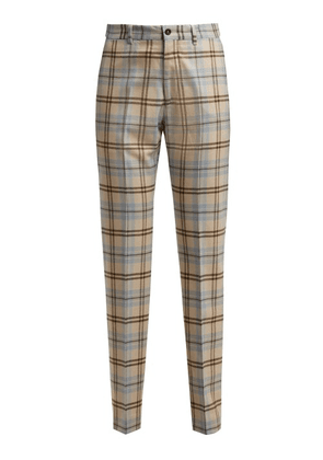 Connolly - High Waisted Checked Wool Blend Trousers - Womens - Beige Multi