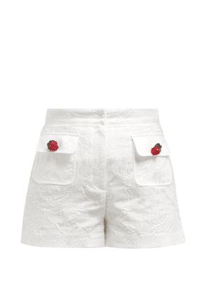 Dolce & Gabbana - High Rise Cotton Blend Floral Jacquard Shorts - Womens - White