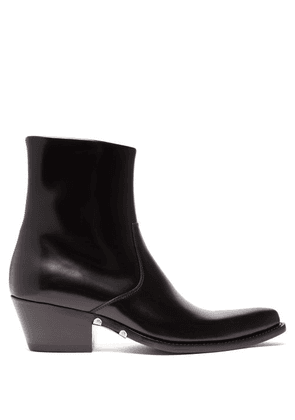 Calvin Klein 205w39nyc - Tex Polished Leather Ankle Boots - Mens - Black
