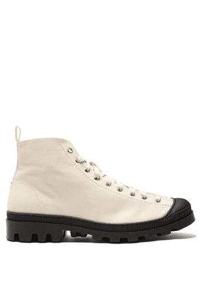 Loewe - Canvas Lace Up Boots - Mens - White Black