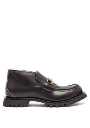 Gucci - Django Bee Embroidered Leather Loafers - Mens - Black
