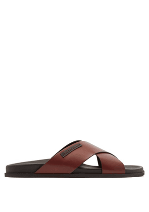 Dolce & Gabbana - Leather Cross Strap Sandals - Mens - Brown