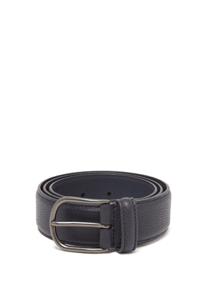 Anderson's - Pebbled Leather Belt - Mens - Navy