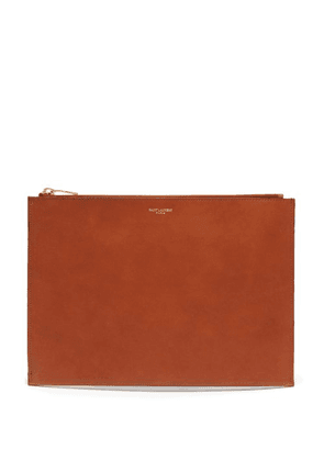 Saint Laurent - Finely Grained Leather Pouch - Mens - Brown