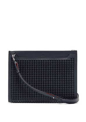 Christian Louboutin - Skypouch Spike Embellished Leather Clutch Bag - Mens - Blue