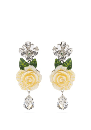 Dolce & Gabbana - Rose And Crystal Drop Clip On Earrings - Womens - White