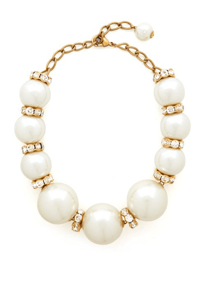 Dolce & Gabbana - Oversized Faux Pearl And Crystal Necklace - Womens - Pearl